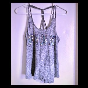 VS Pink Gray Sequin Tank Top Size XS